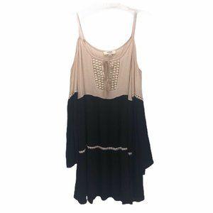 UMGEE Womens Tunic Dress Multi Black Scoop Neck S